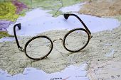 Glasses on a map of europe - Turkey