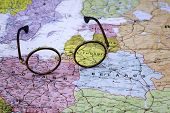 Glasses on a map of europe - Lithuania