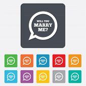 Marry me speech bubble sign icon. Engagement symbol.
