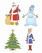Grandfather Frost, Christmas Tree, Snow Maiden, Snowman