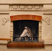 picture of cozy hearth  - The farewood in beautiful old fireplace in home - JPG
