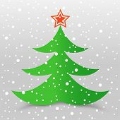Christmas tree and snow gray background