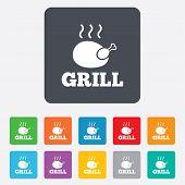 Chicken grill sign icon. Hen bird meat symbol.