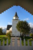 Beautifully framed view of Vang Church, Oppland region, Norway