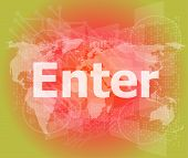 The Word Enter On Digital Screen, Business Concept