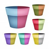 Collection of Ceramic Flower Pots on White Background