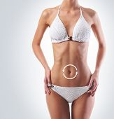 Female stomach with a cycle pointers. Fat lose, nutrition, vitamins and diet concept.