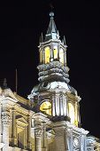 Steeple of the Basilica Cathedral of Arequipa, Peru