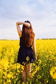 Rear view of young woman with hand in long hair on yellow blooming rapeseed field