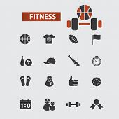 fitness, gym, sport black icons, signs, illustrations set, vector