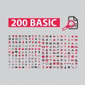 200 basic website, internet icons, signs, illustrations set, vector