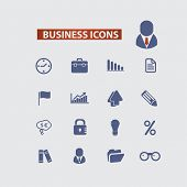 business, management black icons, signs, illustrations set, vector