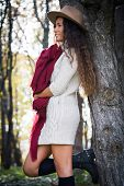 smiling young woman wearing hat,  red wool scarf and wool dress lean on tree enjoy in autumn  day outdoor shot in wood