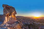 Sunset in Cappadocia Turkey - travel background