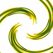 Abstract art background with green spiral. Concentric ripples. Graphic design element. Swirl.