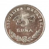 Five Croatian Kunas coin isolated on white background