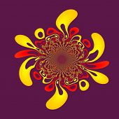 Paint splash isolated on purple. Abstract floral background. Ink splat design. Red yellow fractal.