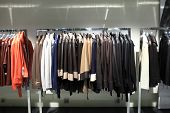 Various Leather Jackets On The Hangers