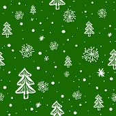 seamless doodle with snowflakes and tree