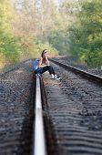Teen Girl Sorrow On Rail