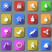 Color Christmas plain icons with shadow effect.