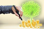 Close up of businessman hand drawing money tree