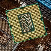 pic of processor socket  - Modern processor and motherboard for a home computer - JPG
