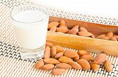 Almond Milk In Glass With Almonds.