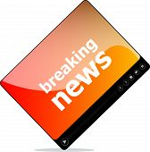 Social Media Concept: Media Player Interface With Breaking News Word
