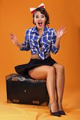Pinup girl and a suitcase