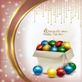 Christmas Box With Colored Balls On Pink Background