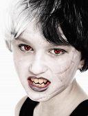 Young Girl In Wig Posing As Vampire