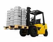 Forklift and Pallet of Beer Kegs