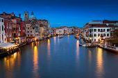 Venezia, The Grand Canal At Night. Venice, Veneto, Italy.