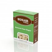 3D Sugar Cubes paper package isolated on white