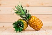 Two fresh pineapples