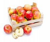 Ripe Apples In Wooden Carte