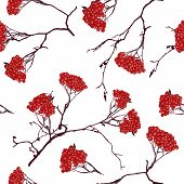Ashberry on the white snow seamless pattern