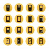 Battery web icons,symbol,sign in flat style with long shadow. Charge level indicators. Vector illust