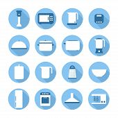 Set of kitchen appliances and tools web icons,symbol,sign in flat style. Home appliances. Elements f