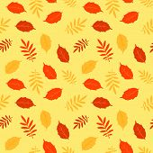 Autumn fallen leaves vector seamless pattern