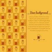 Beer mugs and hop background