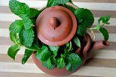 A pot of fresh mint