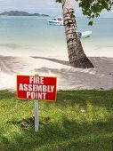 stock photo of pressure point  - collection point designated by fire on the beach - JPG