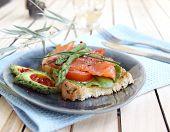 Hot a salty salmon sandwich