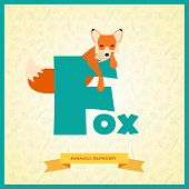 Letter F and fox.