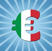 Italian Euro symbol on blue sunburst vector illustration