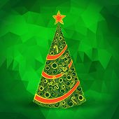 Christmas tree with green polygonal background