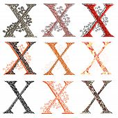 Various Combination Fishnet Letter X.