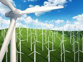 Many wind turbines in the field